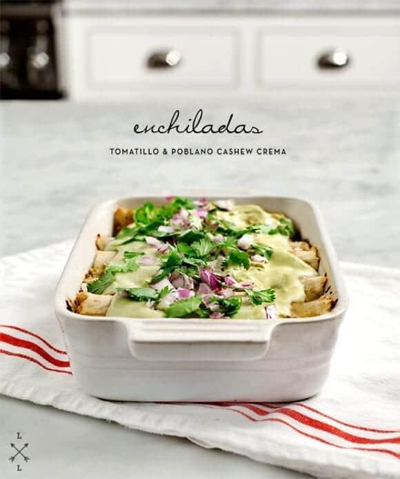 """poblano """"crema enchiladas (vegan) / loveandlemons.com"""