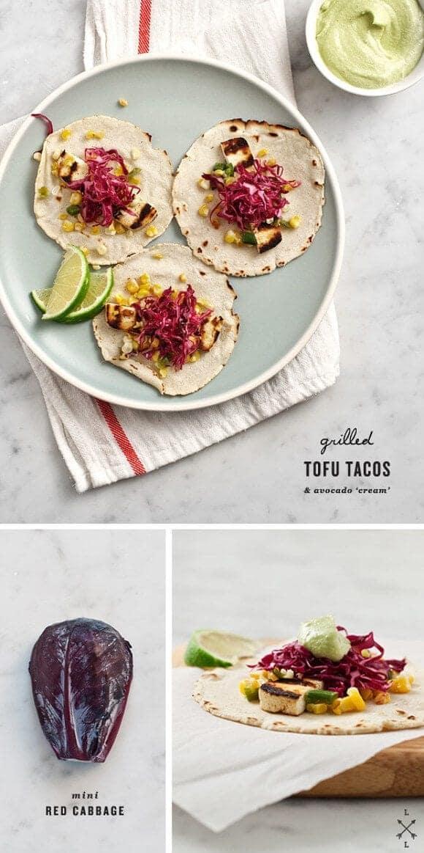 Grilled tofu tacos with avocado cashew cream