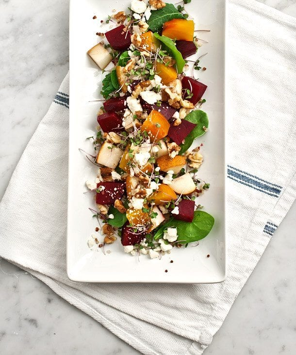 Roasted Beet Salad with Pear and Walnuts