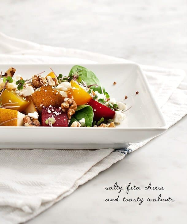 Roasted Beet Salad Recipe with Pear and Walnuts