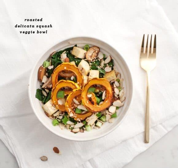 delicata squash veggie bowl w/ ginger miso/ loveandlemons.com