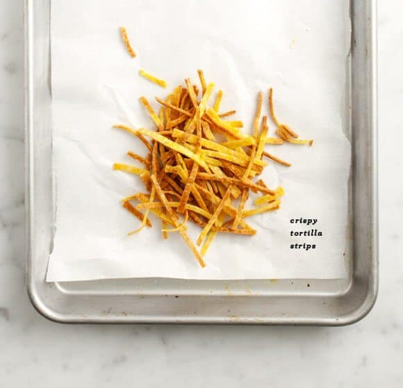 Crispy tortilla strips for vegan tortilla soup