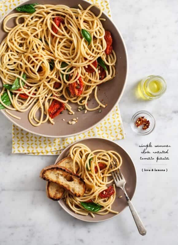 Slow roasted tomato pasta // loveandlemons.com