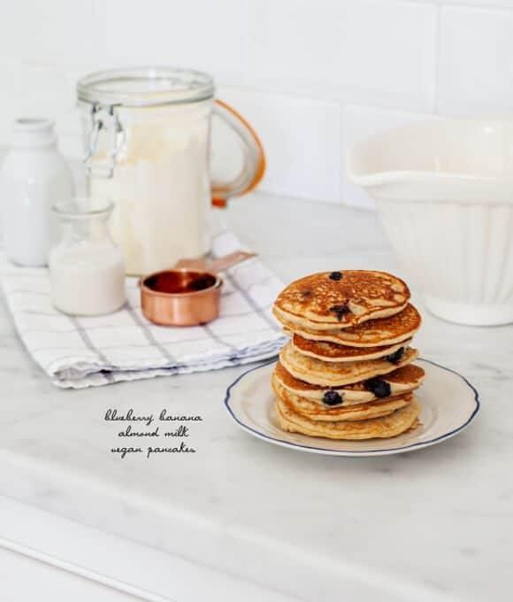 Blueberry banana pancakes, vegan & gluten free