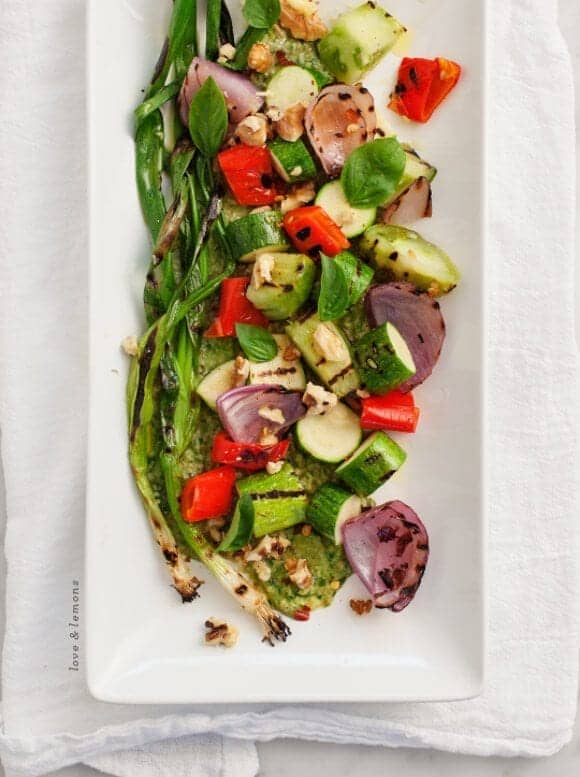 grilled veggies with basil miso // loveandlemons.com