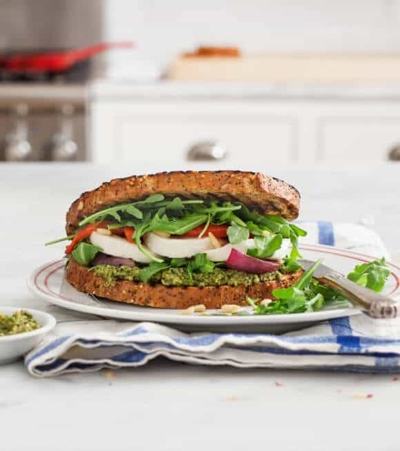 Caprese sandwich with olive pesto