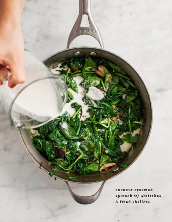 Creamed spinach recipe in a pot