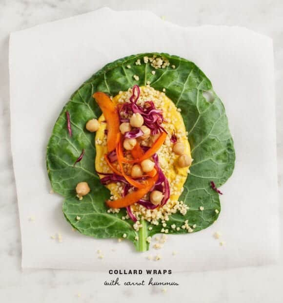collard green wraps with carrot hummus
