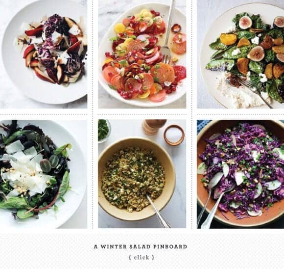 a winter salad pinboard
