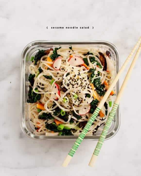 Cold Sesame Noodles w/ Kale & Shiitakes Recipe