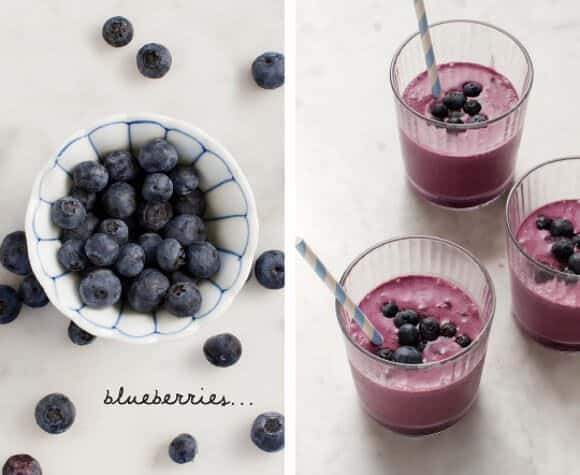 Blueberry smoothie with blueberries on the side