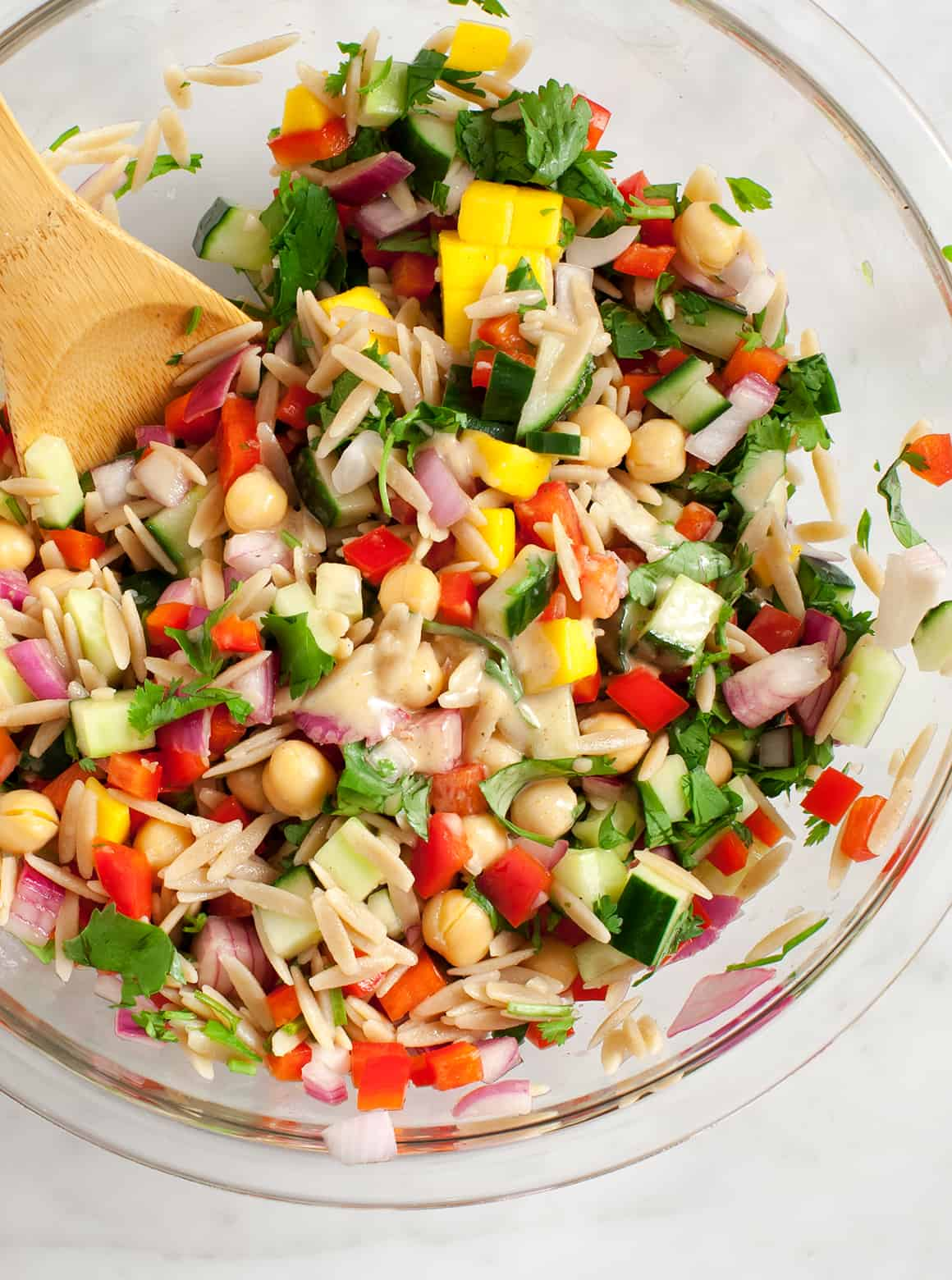 Orzo Salad in a bowl