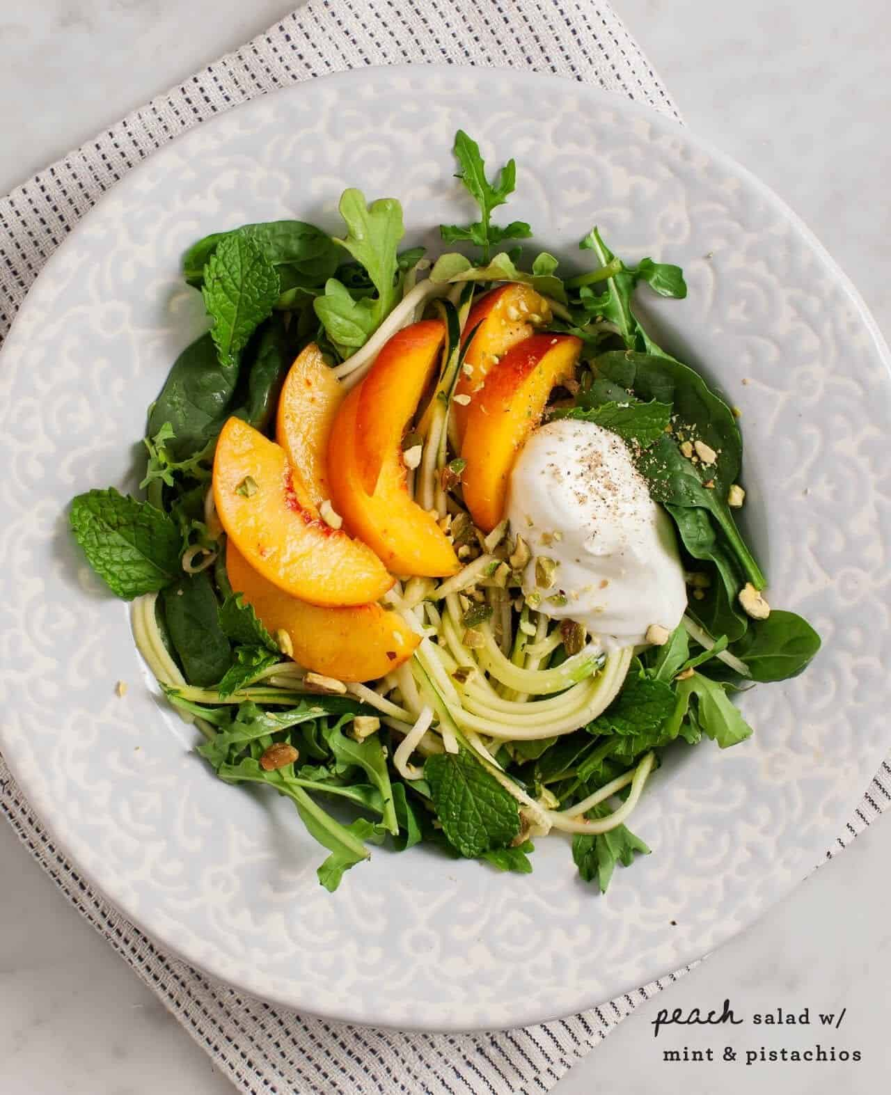 Peach Salad with Mint, Pistachios and Coriander Yogurt / @loveandlemons