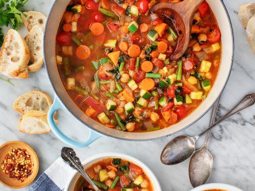Many Veggie Vegetable Soup Recipe Love And Lemons