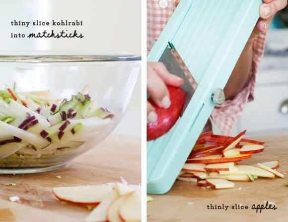 Shredded brussels sprout, apple & kohlrabi salad