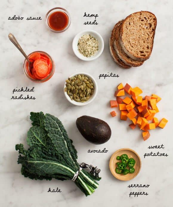 Loaded Sweet Potato Avocado Toast ingredients