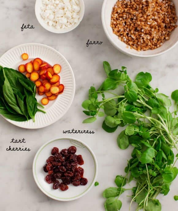 Watercress Farro Salad with Tart Cherries / www.loveandlemons.com