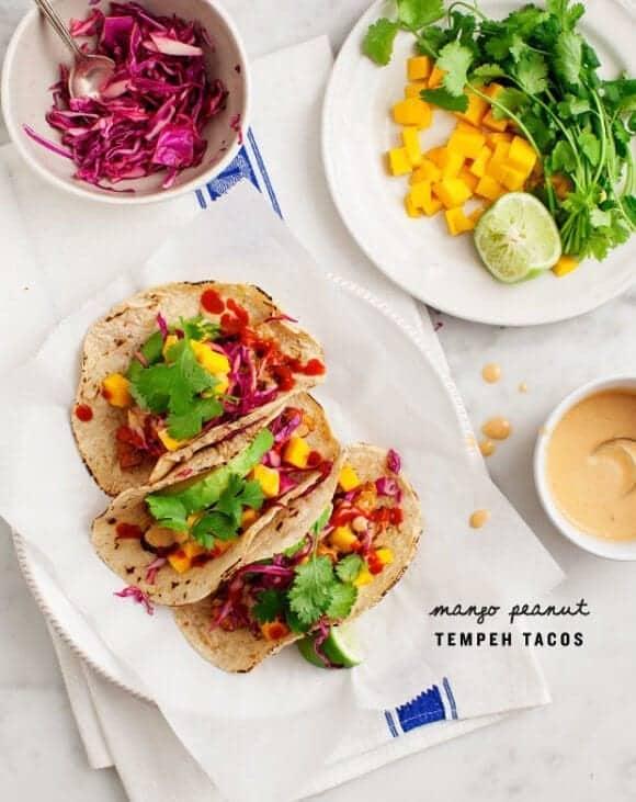 Mango Peanut Tempeh Tacos / loveandlemons.com