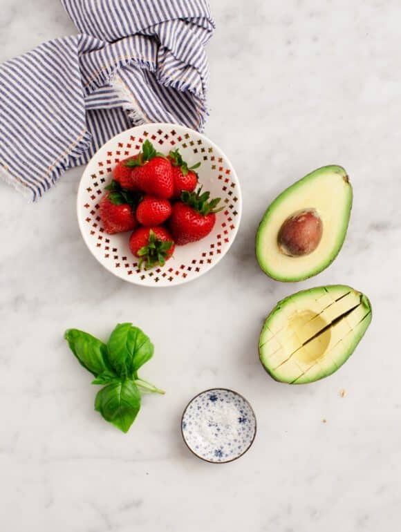 Strawberry Basil Avocado Toast Recipe ingredients