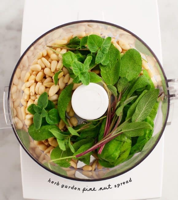 herb garden pine nut spread/ @loveandlemons