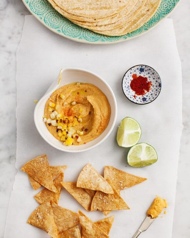 Tostadas with Smoky Sweet Corn Hummus / loveandlemons.com