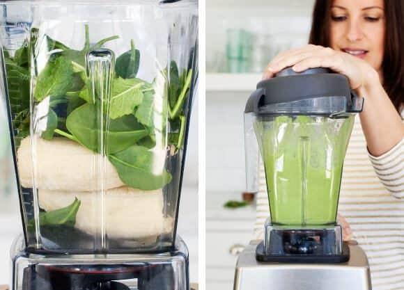 Green smoothie recipe ingredients in a blender