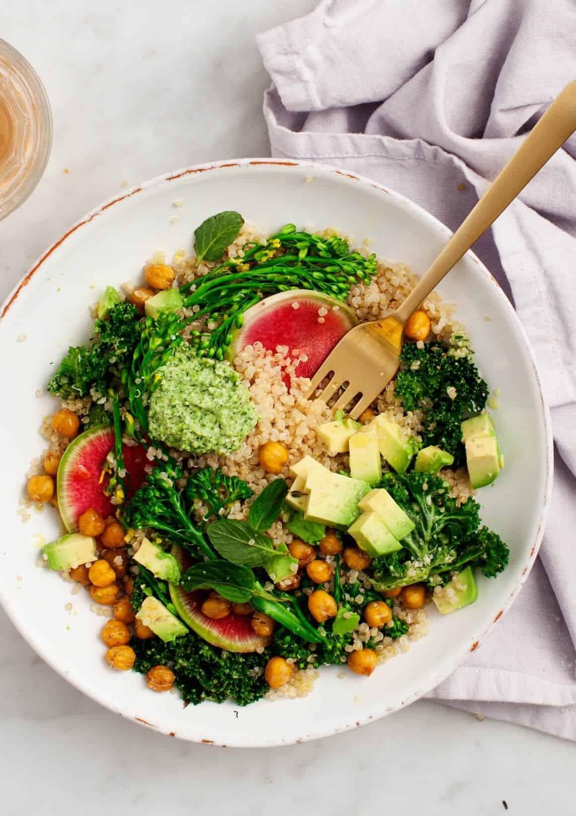 Spring Broccolini & Kale Quinoa Bowls