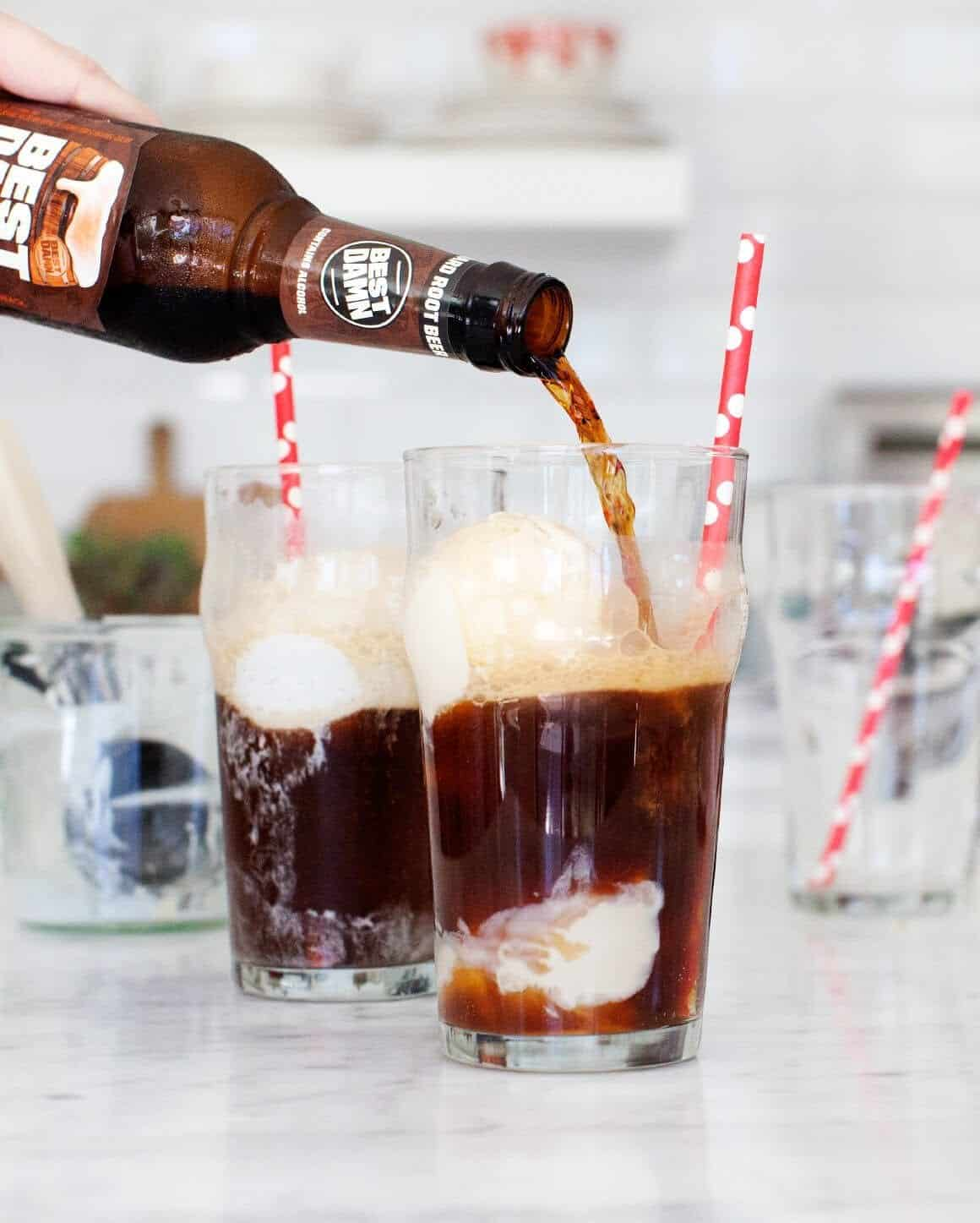Boozy Root Beer Floats with homemade vegan vanilla ice cream