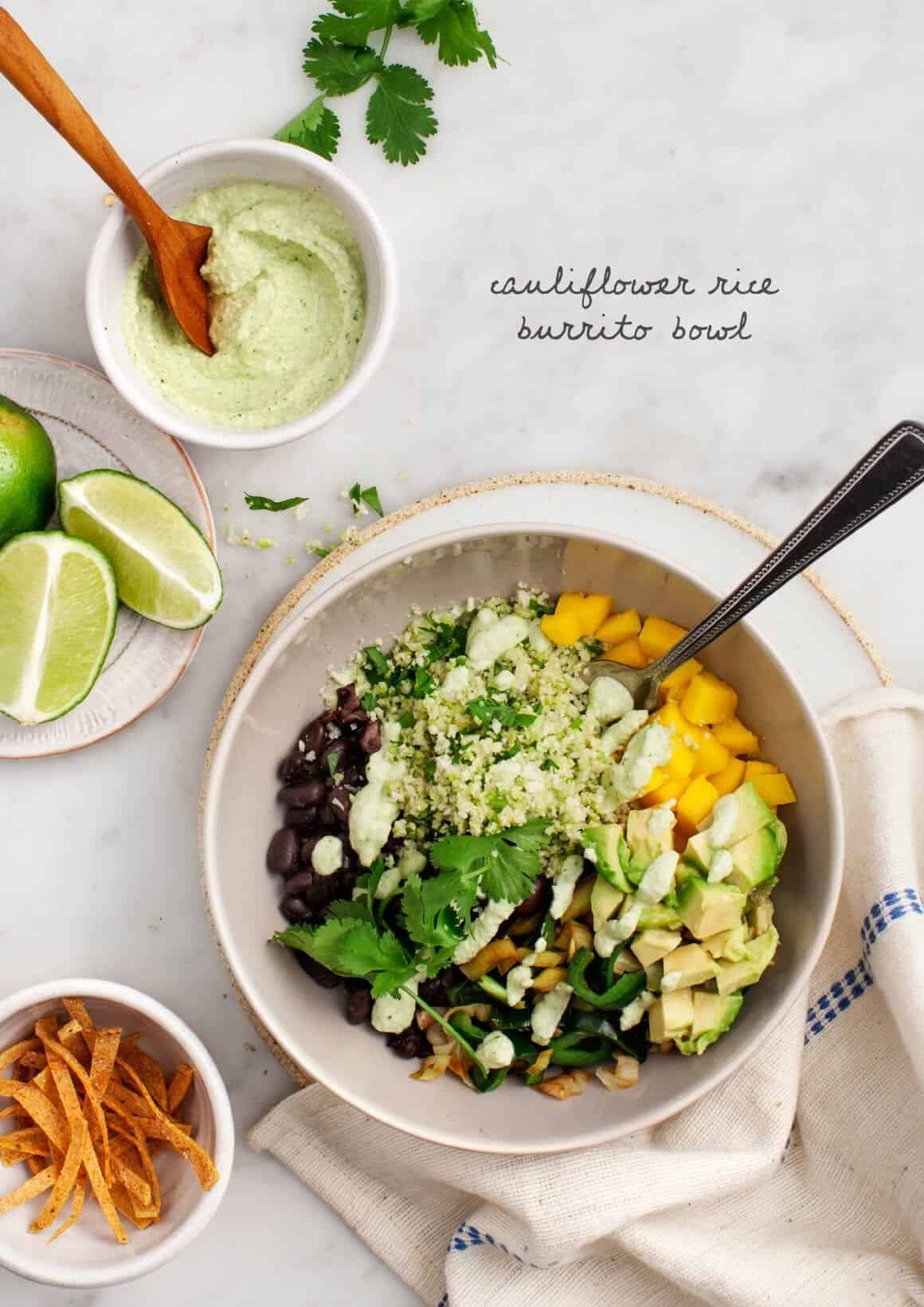 Burrito Bowl Recipe with Cauliflower Rice