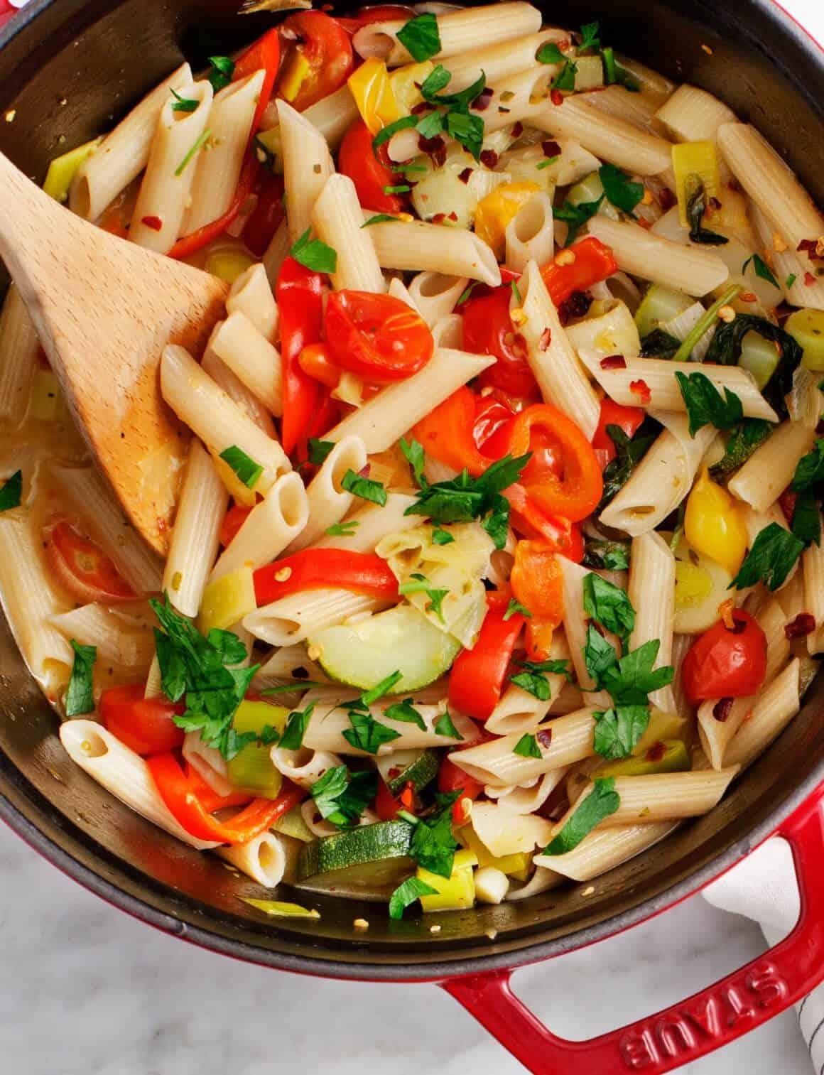 one pot vegetable penne pasta recipe love and lemons
