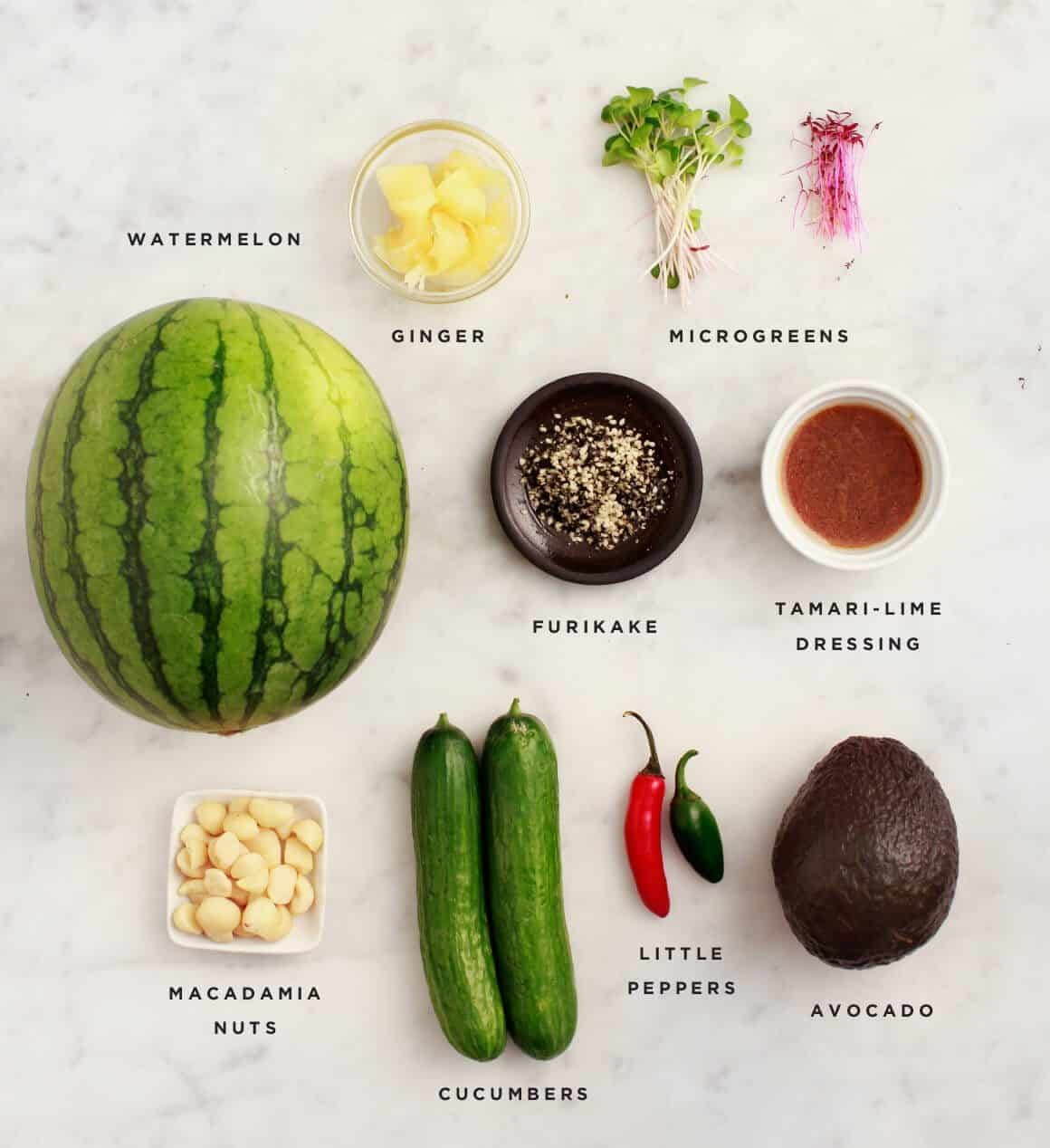 Watermelon Poke Bowl Recipe ingredients