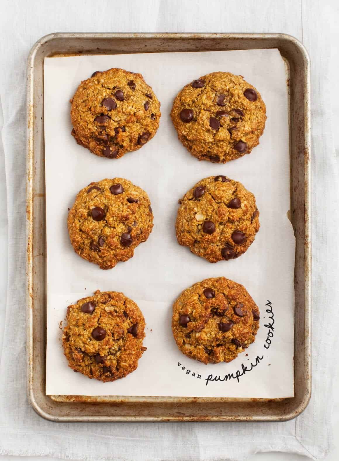 pumpkin oatmeal chocolate chip cookies recipe - love and lemons