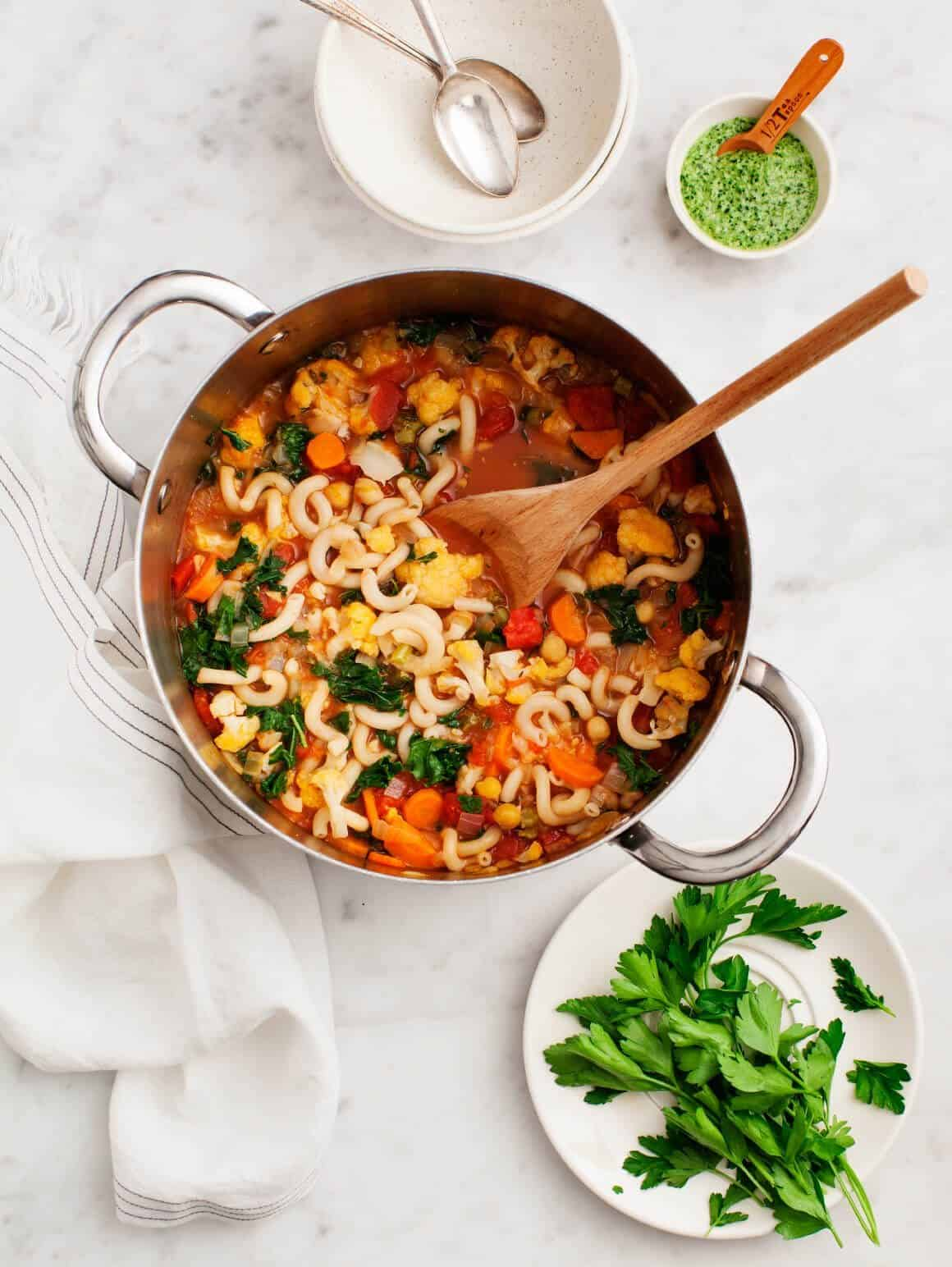 Cauliflower Minestrone with Kale Pesto (vegan, gluten free)