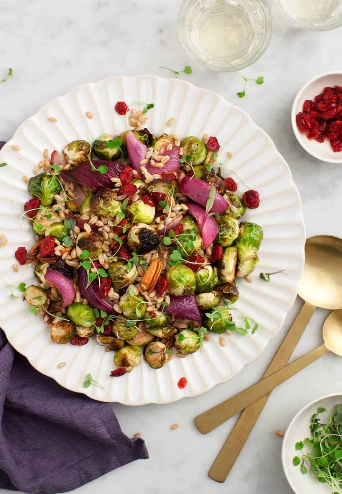 Balsamic Brussels Sprouts with Onions & Farro