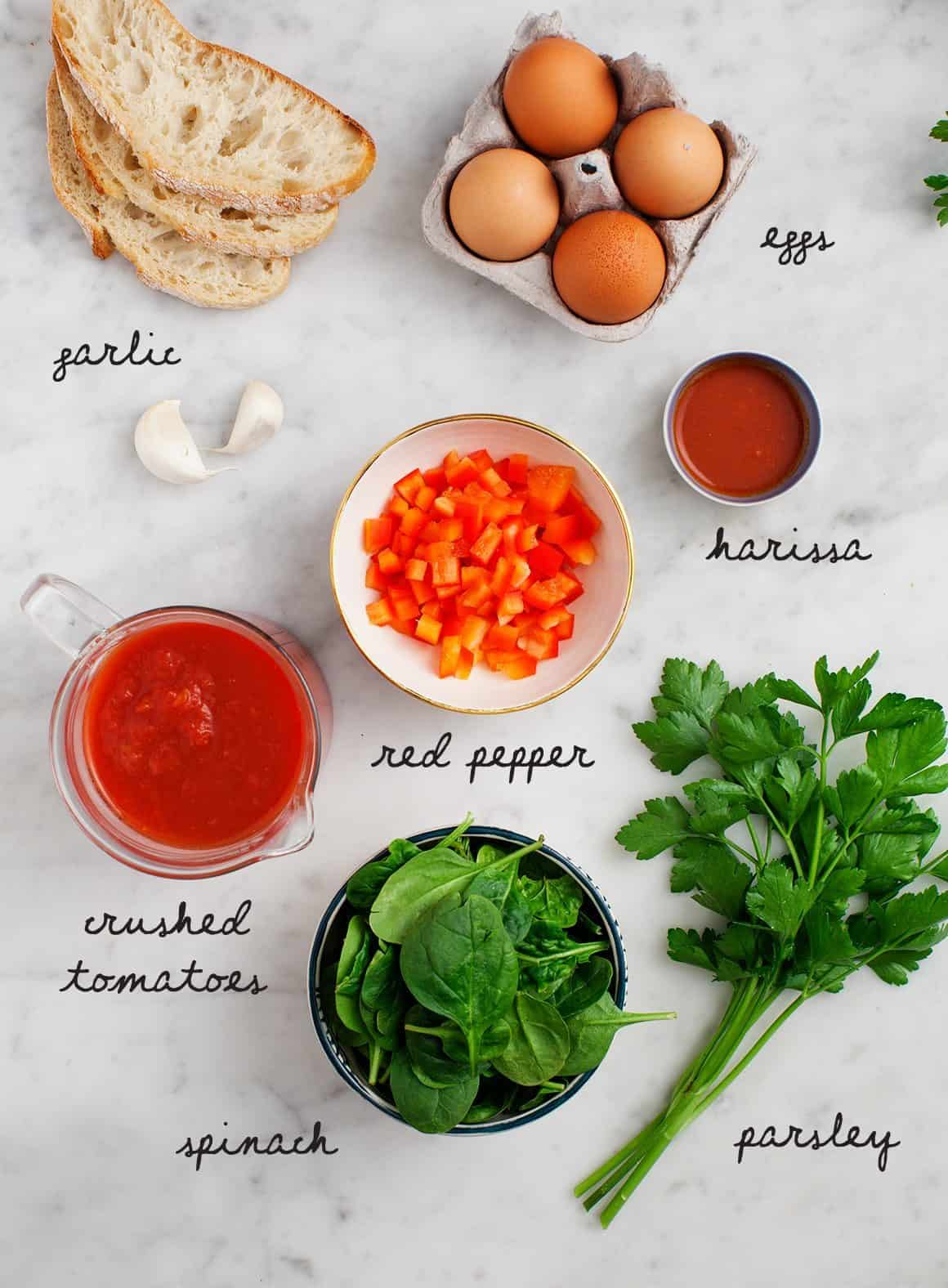 Shakshuka Recipe ingredients