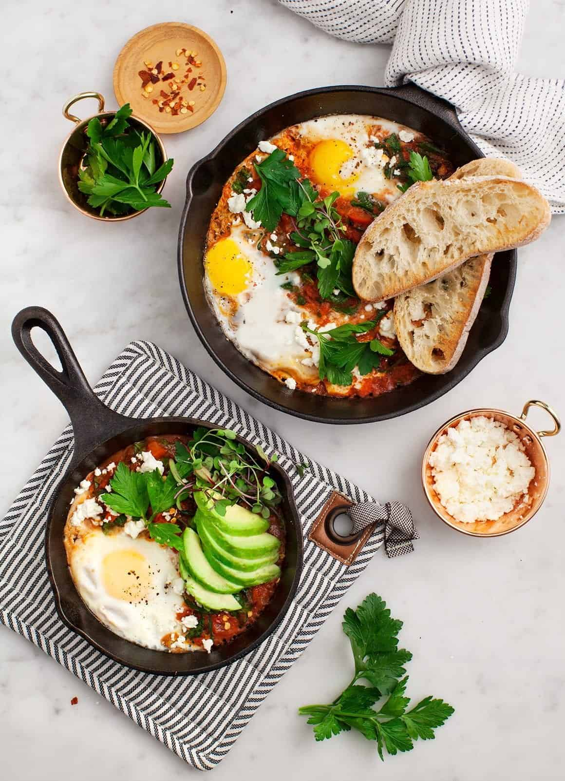 Shakshuka with Spinach and Harissa