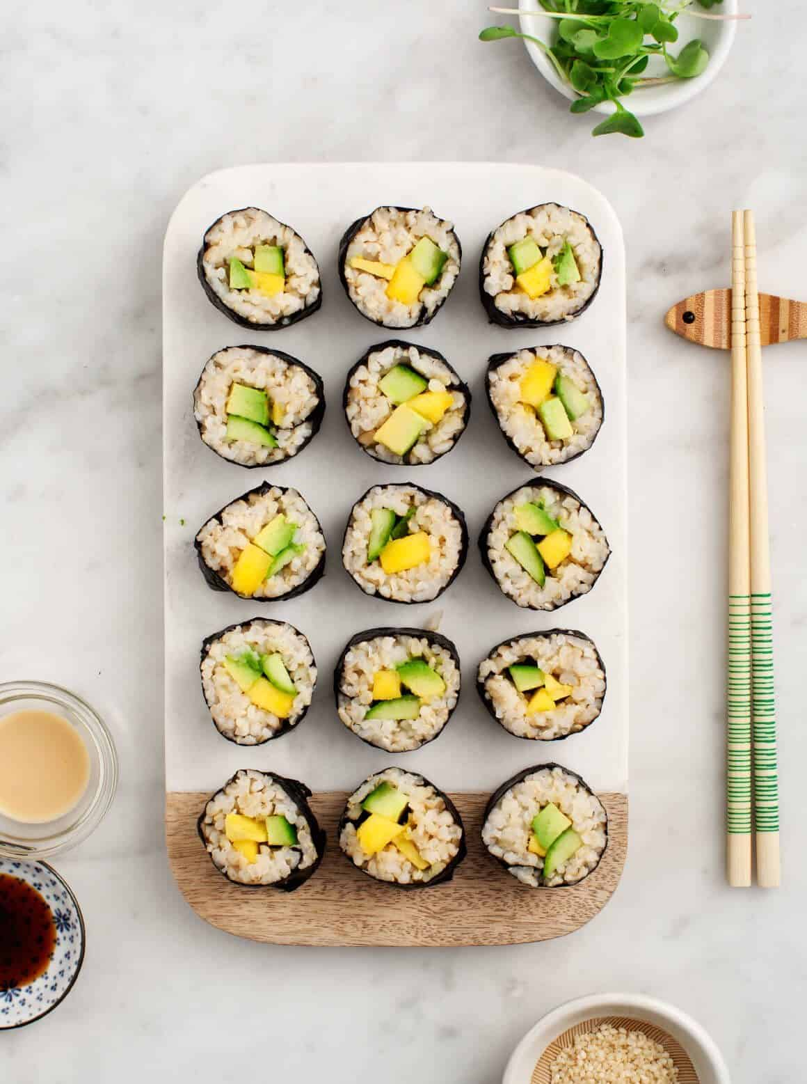 Avocado and Mango Brown Rice Sushi