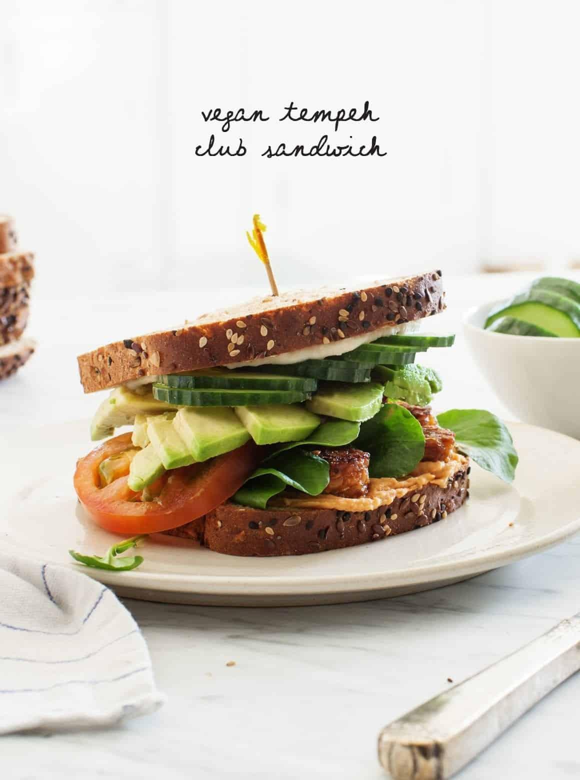 Tempeh Vegan Club Sandwich on a plate