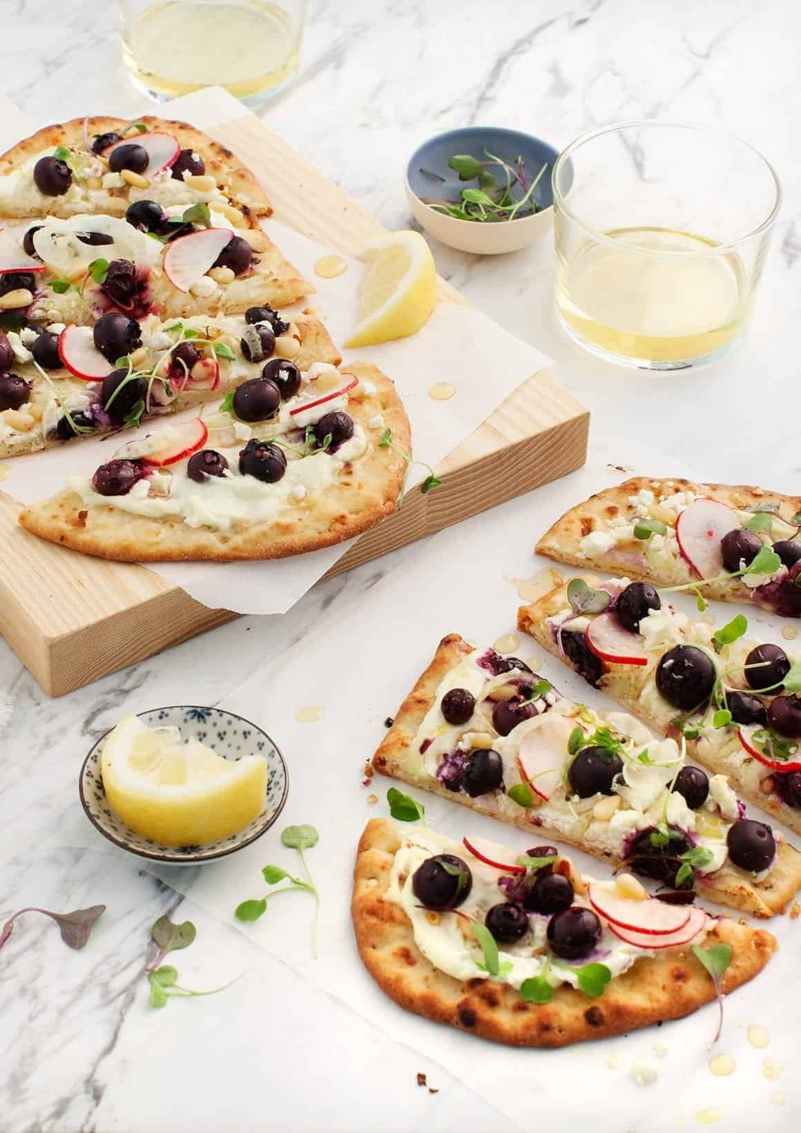 Blueberry Fennel Flatbread w/ Whipped Feta sliced