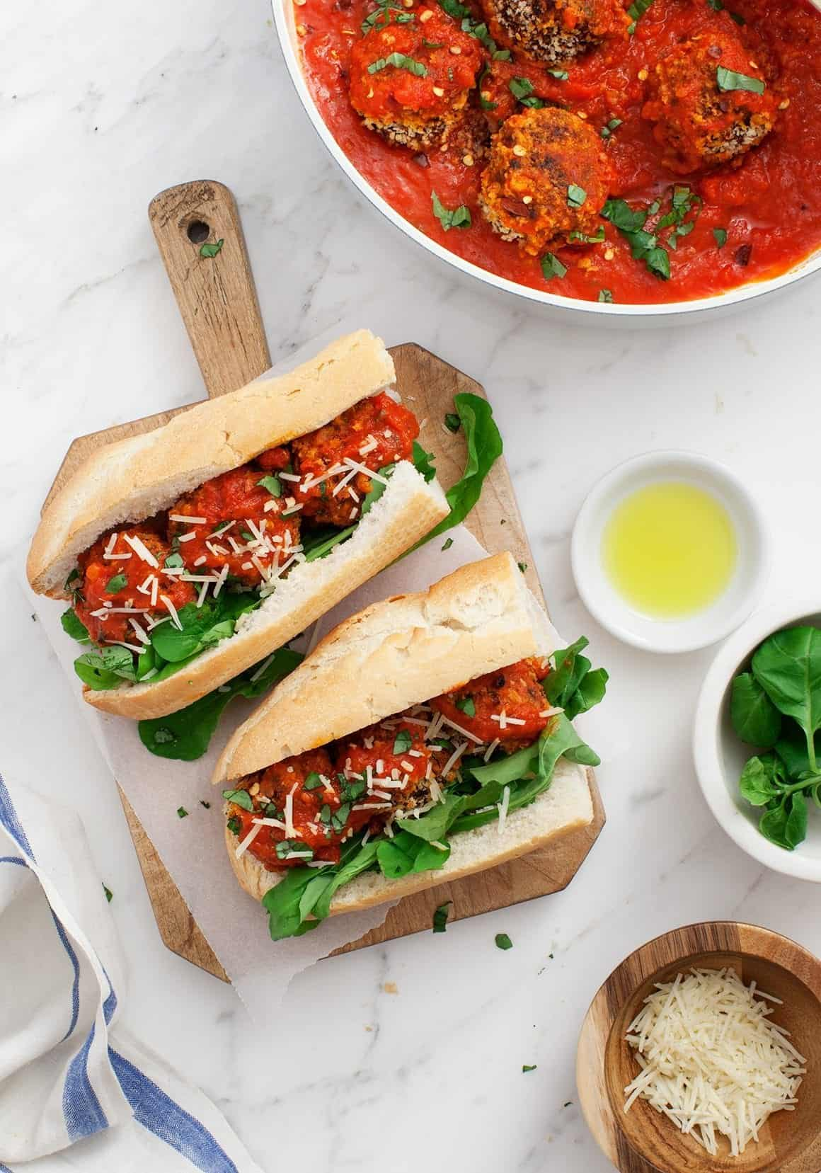Vegan meatballs in subs