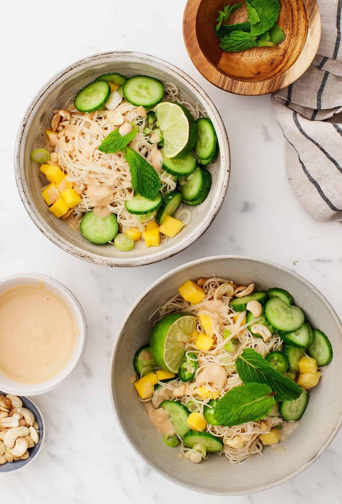 Cucumber Mango Miso Noodle Bowl