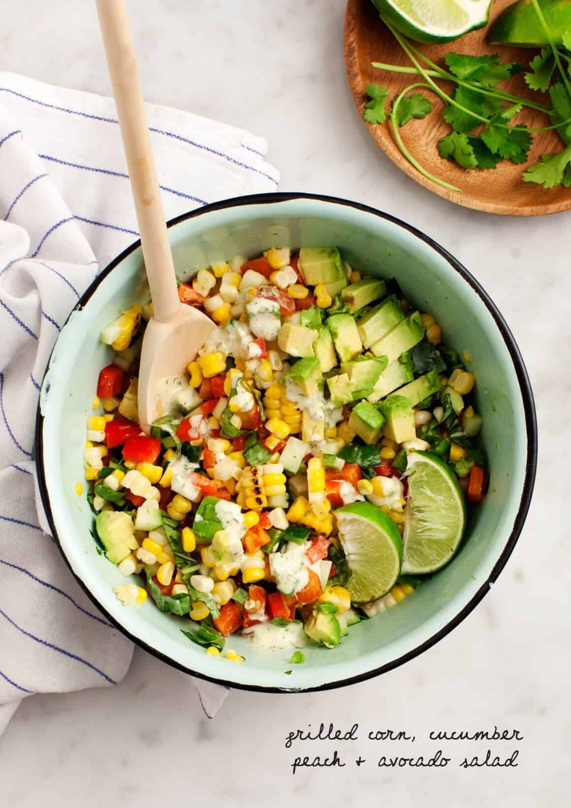 Grilled Corn, Cucumber, Peach & Avocado Salad