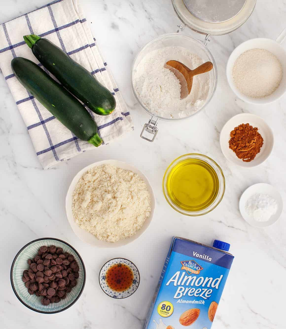 Almond Chocolate Chip Zucchini Bread ingredients