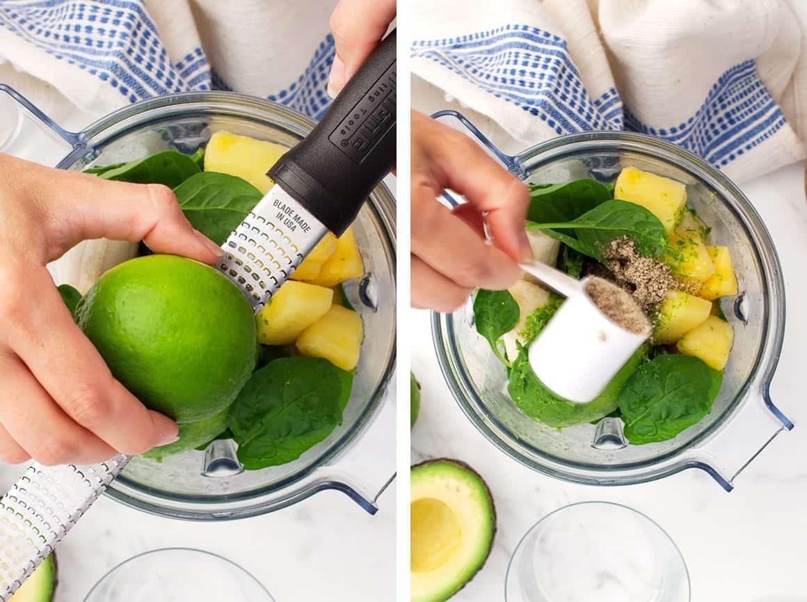 Adding lime zest and hemp seeds to a blender