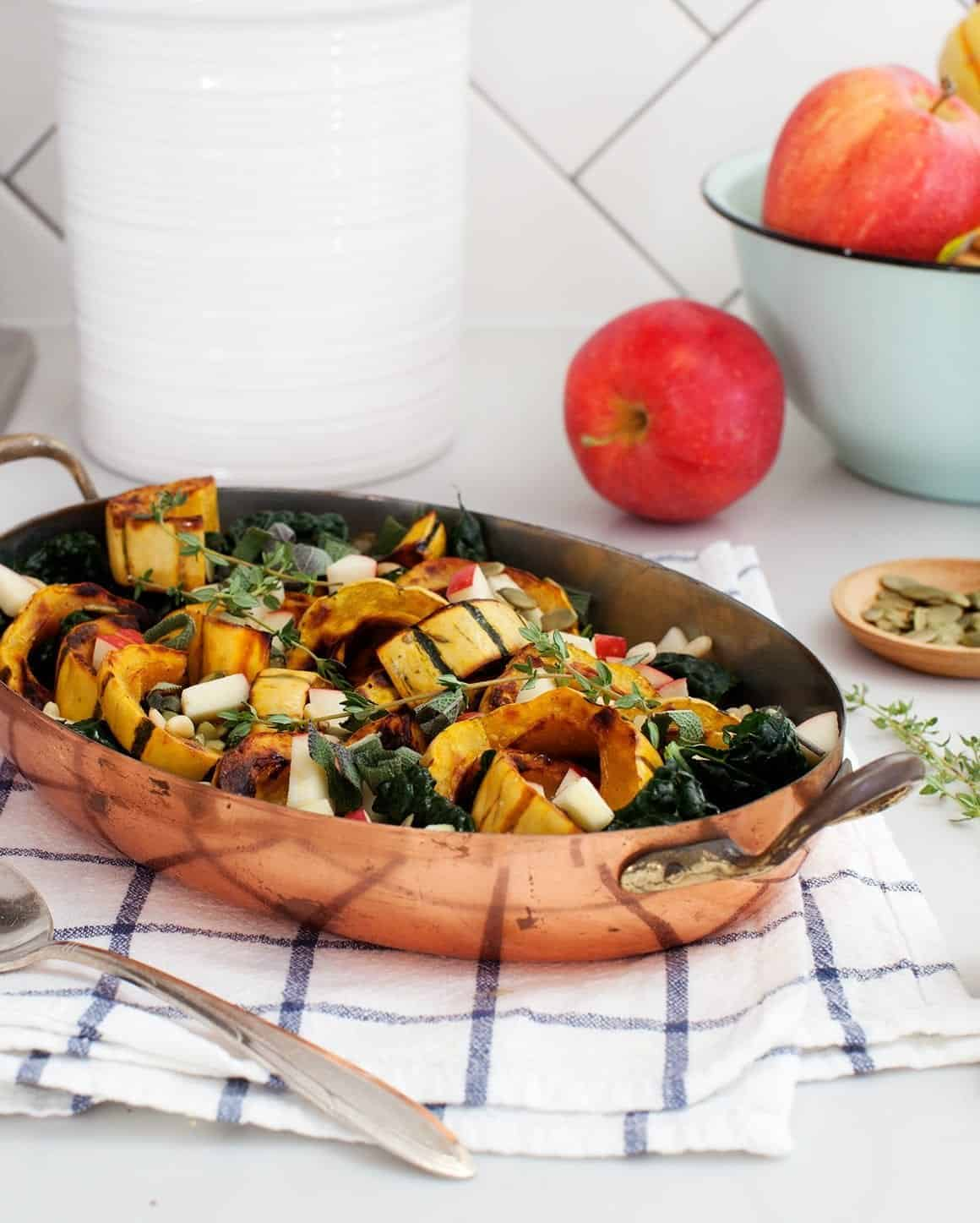 Roasted Delicata Squash with Apples & Sage