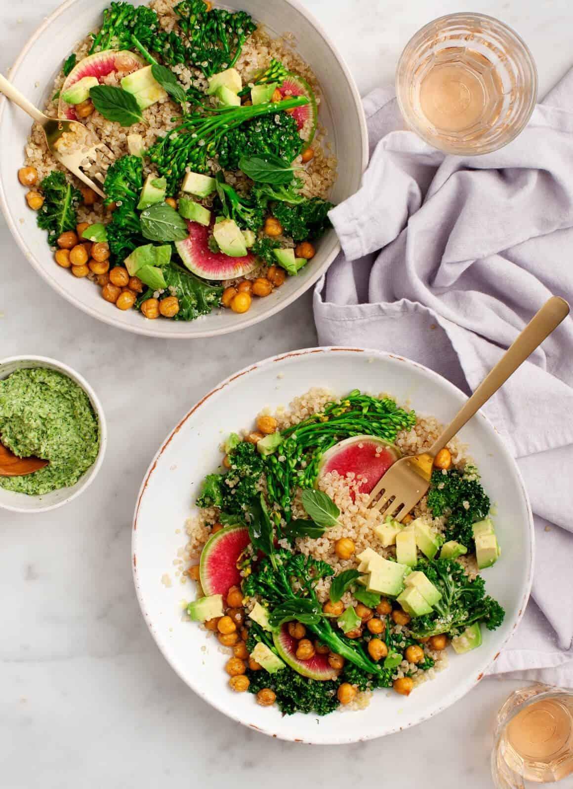 Healthy Lunch Ideas - Broccoli Pesto Quinoa Salad
