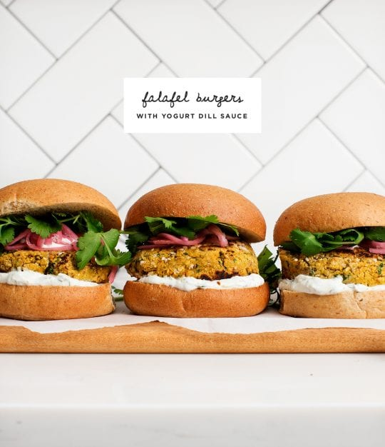 Falafel Burgers with Yogurt Dill Sauce
