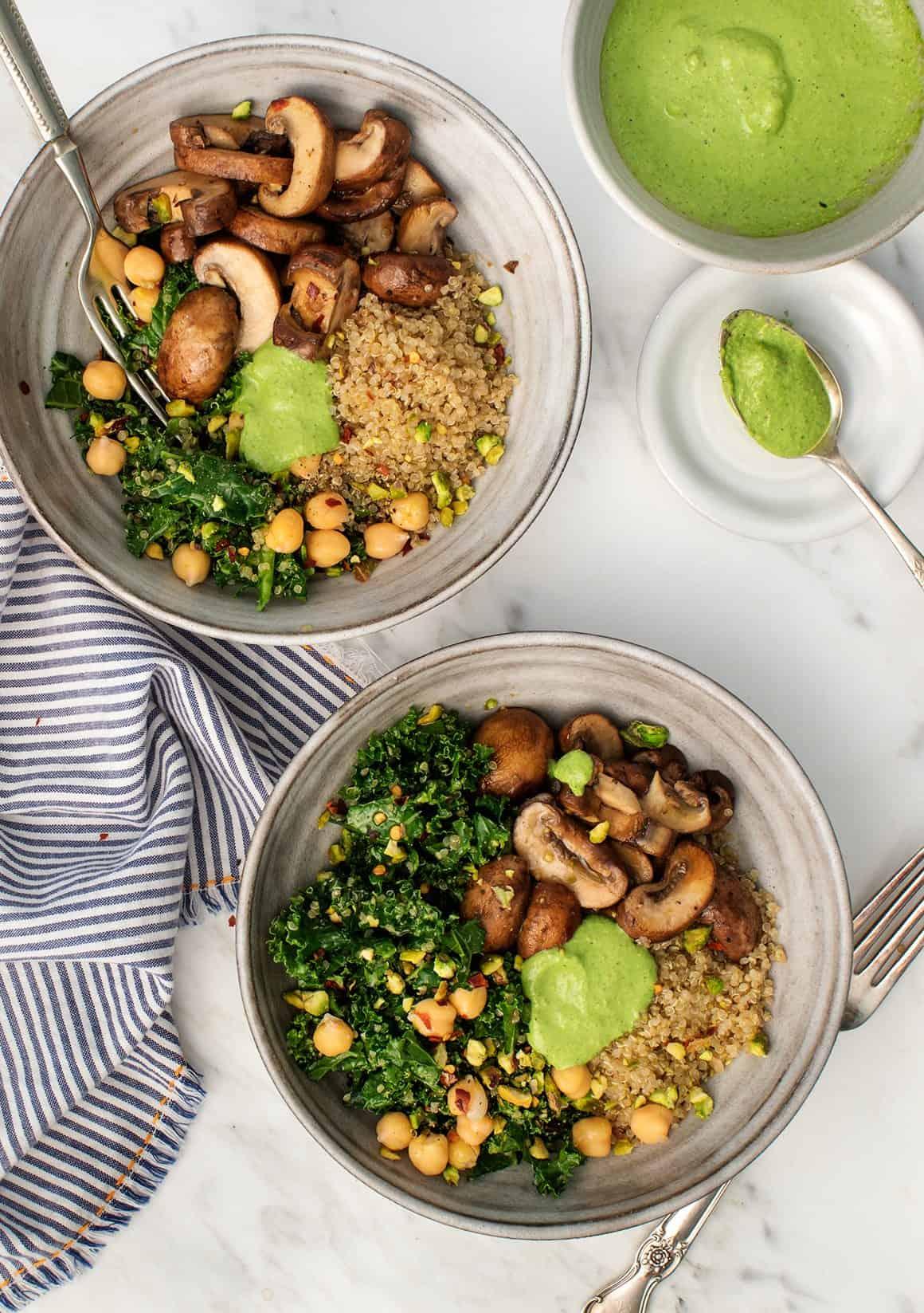 Kale Pesto Mushroom Pistachio Bowls