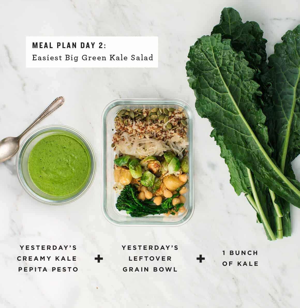 Big Green Kale Quinoa Salad with Creamy Kale Pepita Pesto