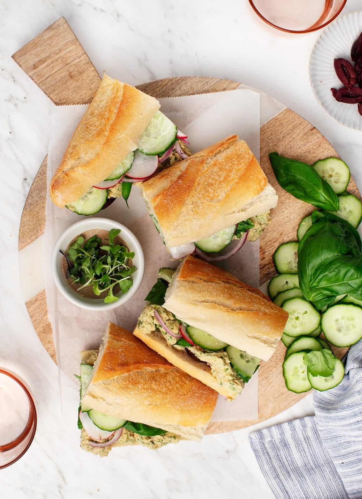 Chickpea Pan Bagnat Sandwiches